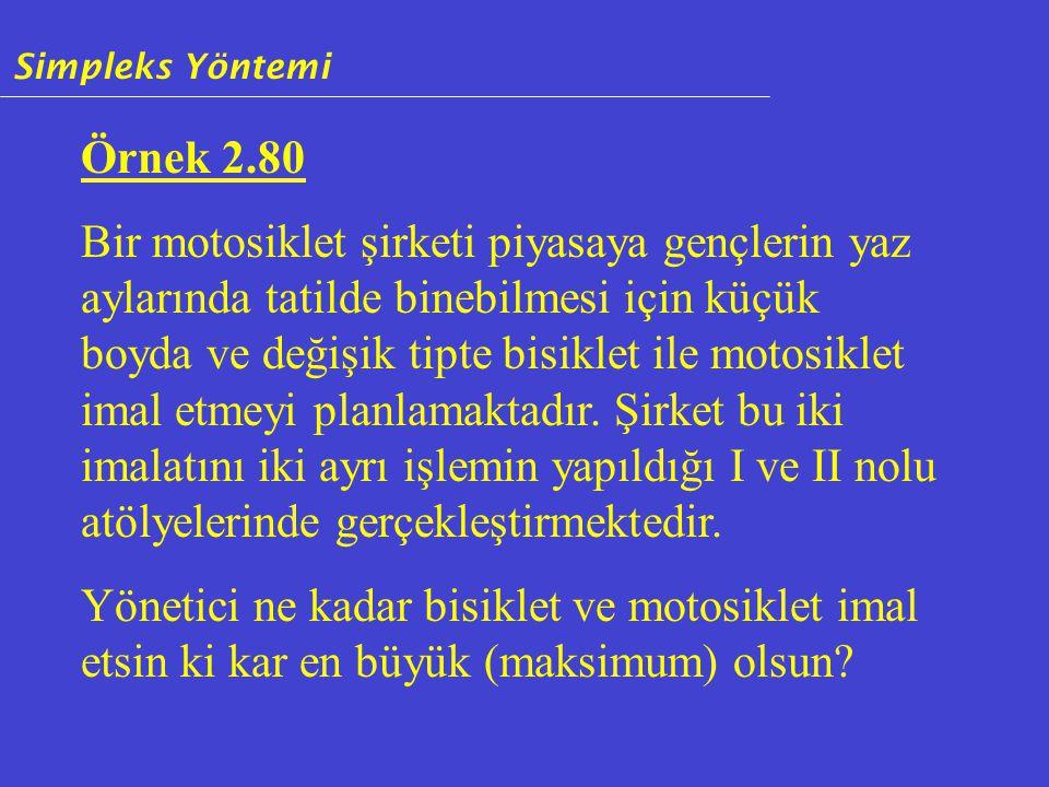 Örnek 2.80 Bir motosiklet şirketi piyasaya gençlerin yaz aylarında tatilde binebilmesi için küçük boyda ve değişik tipte bisiklet ile motosiklet imal etmeyi planlamaktadır.