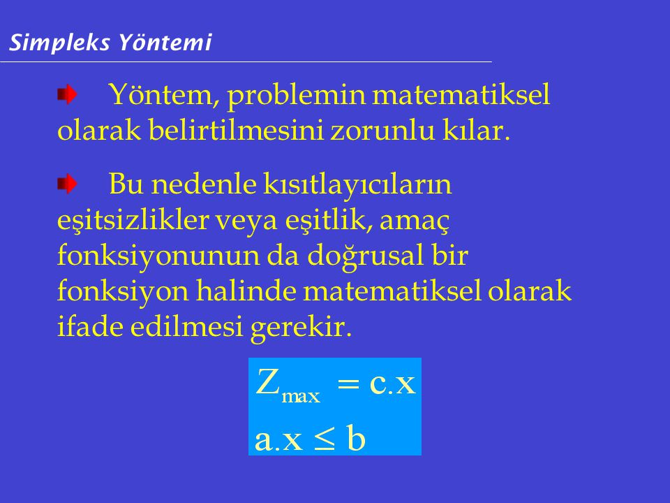 Yöntem, problemin matematiksel olarak belirtilmesini zorunlu kılar.