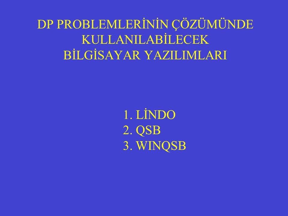 DP PROBLEMLERİNİN ÇÖZÜMÜNDE KULLANILABİLECEK BİLGİSAYAR YAZILIMLARI 1. LİNDO 2. QSB 3. WINQSB