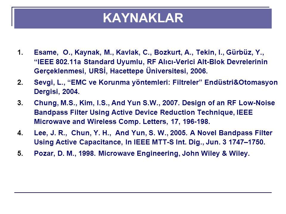 KAYNAKLAR 1.Esame, O., Kaynak, M., Kavlak, C., Bozkurt, A., Tekin, I., Gürbüz, Y., IEEE 802.11a Standard Uyumlu, RF Alıcı-Verici Alt-Blok Devrelerinin Gerçeklenmesi, URSİ, Hacettepe Üniversitesi, 2006.