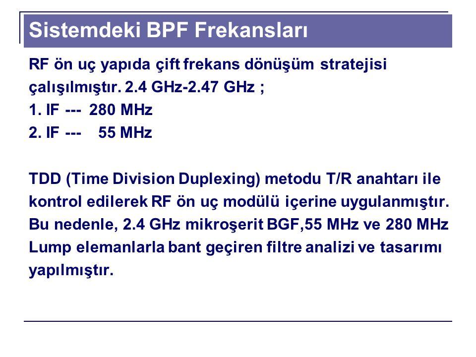 Sistemdeki BPF Frekansları RF ön uç yapıda çift frekans dönüşüm stratejisi çalışılmıştır.