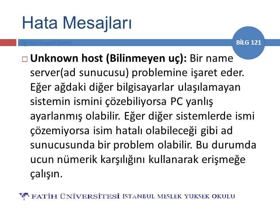BİLG 121  Unknown host (Bilinmeyen uç): Bir name server(ad sunucusu) problemine işaret eder.