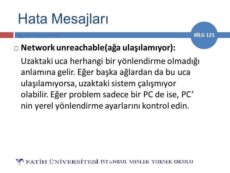 BİLG 121  Network unreachable(ağa ulaşılamıyor): Uzaktaki uca herhangi bir yönlendirme olmadığı anlamına gelir.
