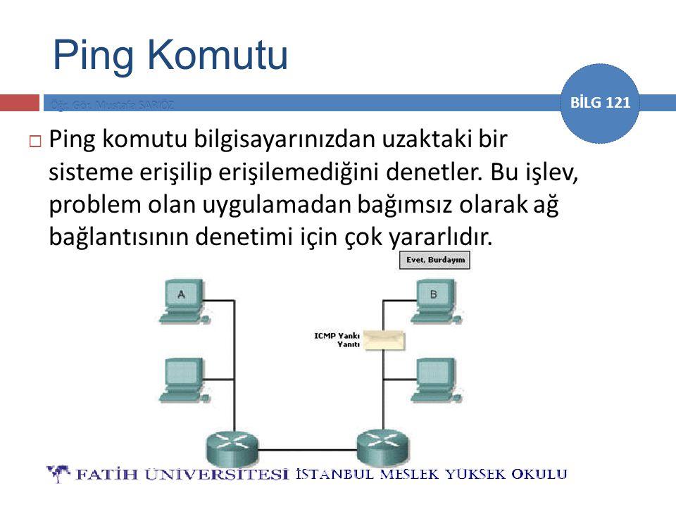 BİLG 121  Ping daha sonra yapılacak kontrollerin ağ bağlantısına (alt katmanlara) veya uygulamaya (üst katmanlara) yöneltilmesini sağlar.