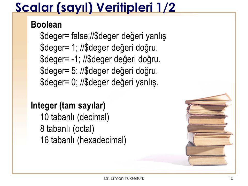 11 Scalar (sayıl) Veritipleri 1/2 Gerçek sayılar (real numbers) Noktadan sonra kısımları olan sayılardır.