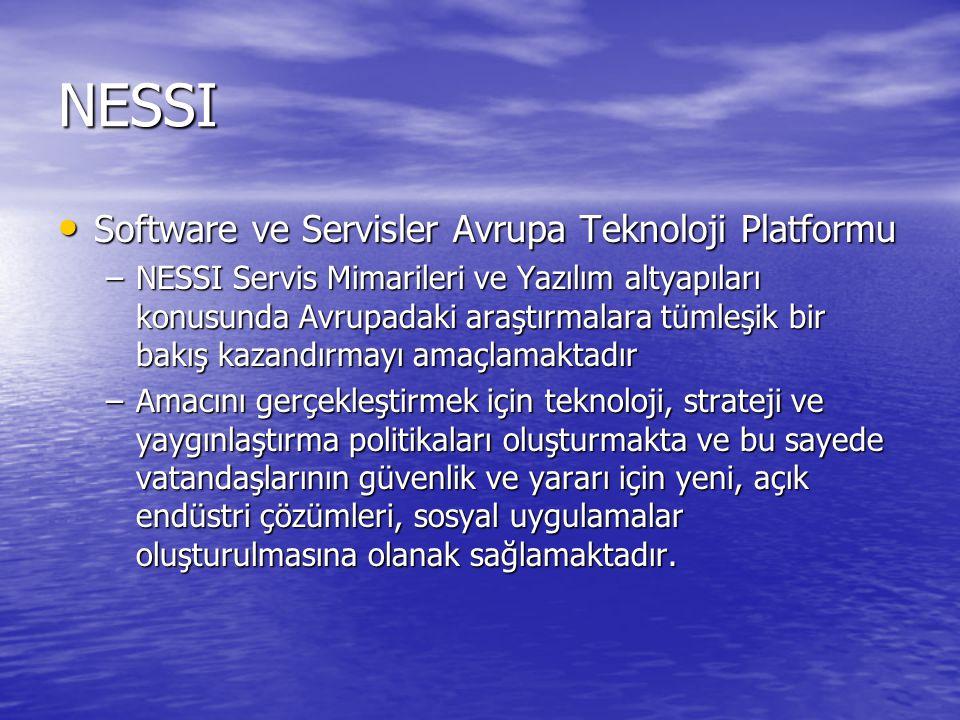 NESSI Software ve Servisler Avrupa Teknoloji Platformu Software ve Servisler Avrupa Teknoloji Platformu –NESSI Servis Mimarileri ve Yazılım altyapıları konusunda Avrupadaki araştırmalara tümleşik bir bakış kazandırmayı amaçlamaktadır –Amacını gerçekleştirmek için teknoloji, strateji ve yaygınlaştırma politikaları oluşturmakta ve bu sayede vatandaşlarının güvenlik ve yararı için yeni, açık endüstri çözümleri, sosyal uygulamalar oluşturulmasına olanak sağlamaktadır.
