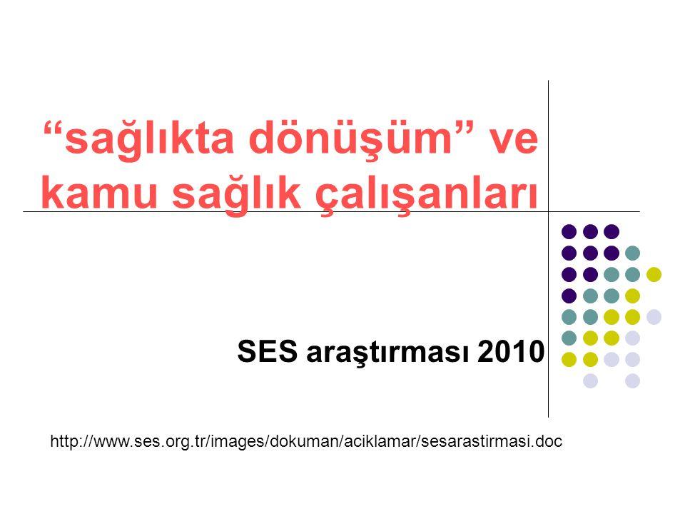 sağlıkta dönüşüm ve kamu sağlık çalışanları SES araştırması 2010 http://www.ses.org.tr/images/dokuman/aciklamar/sesarastirmasi.doc