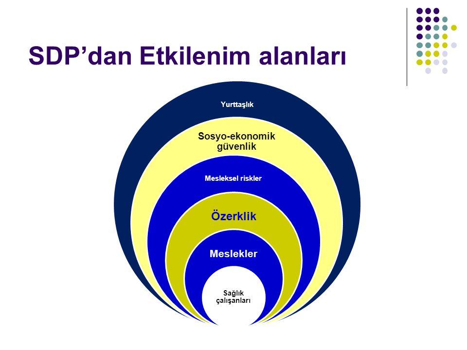 SDP'dan Etkilenim alanları Yurttaşlık Sosyo-ekonomik güvenlik Mesleksel riskler Özerklik Meslekler Sağlık çalışanları