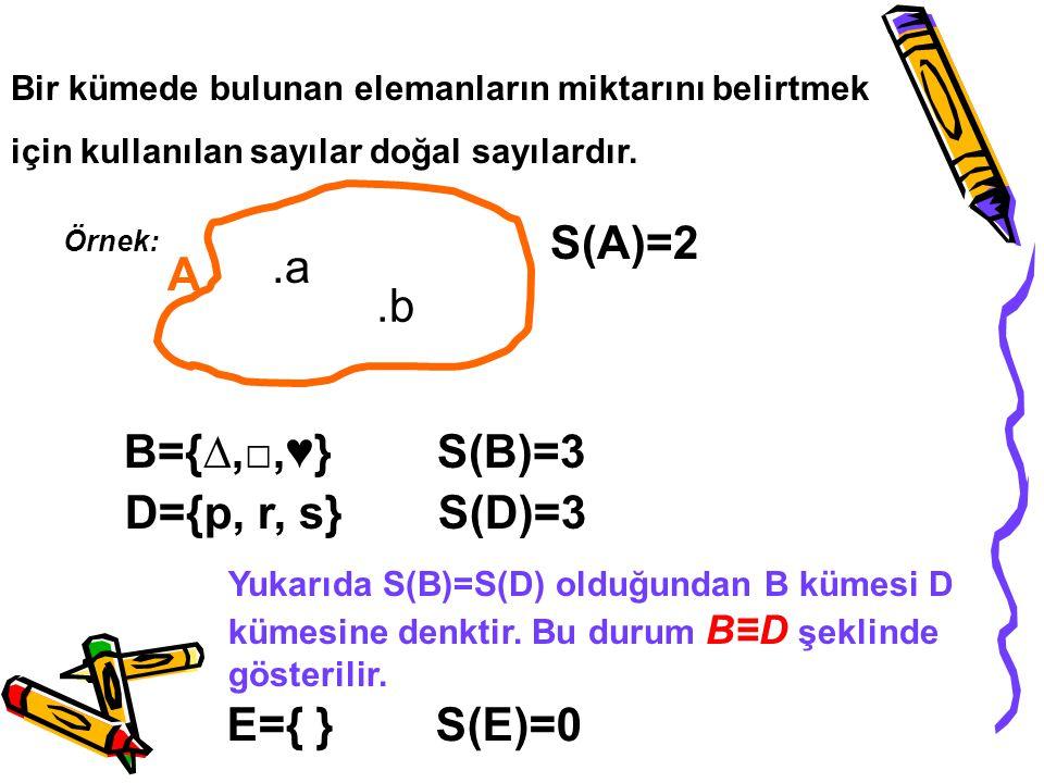 Bir kümede bulunan elemanların miktarını belirtmek için kullanılan sayılar doğal sayılardır. Örnek: A.a.b S(A)=2 B={∆,□,♥}S(B)=3 D={p, r, s}S(D)=3 Yuk