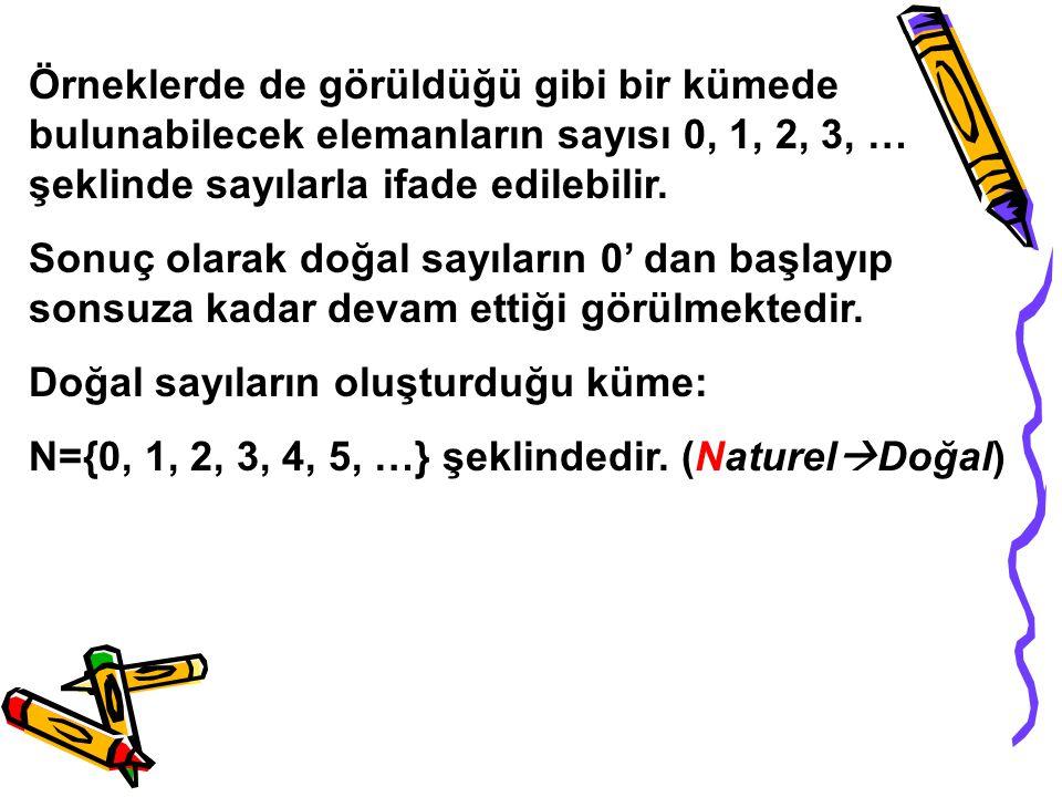 Örneklerde de görüldüğü gibi bir kümede bulunabilecek elemanların sayısı 0, 1, 2, 3, … şeklinde sayılarla ifade edilebilir. Sonuç olarak doğal sayılar
