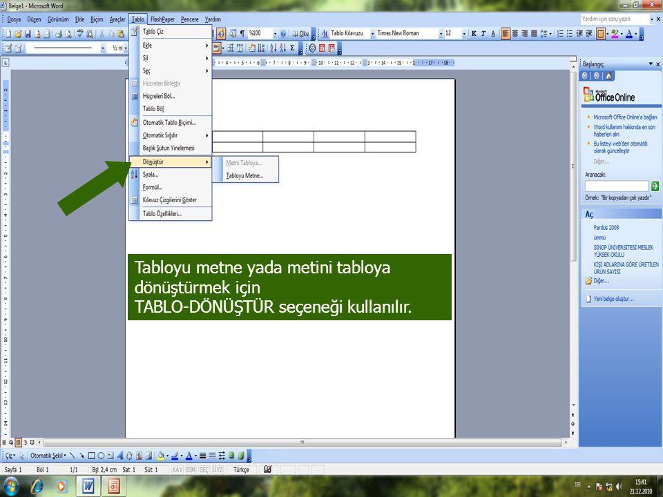 Tabloyu metne yada metini tabloya dönüştürmek için TABLO-DÖNÜŞTÜR seçeneği kullanılır.