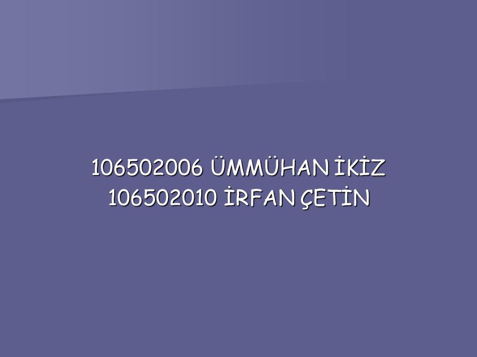 106502006 ÜMMÜHAN İKİZ 106502010 İRFAN ÇETİN