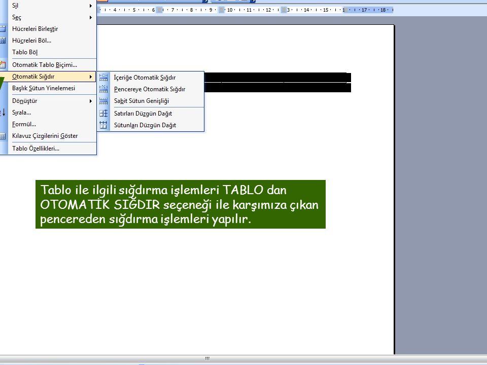 Tablo ile ilgili sığdırma işlemleri TABLO dan OTOMATİK SIĞDIR seçeneği ile karşımıza çıkan pencereden sığdırma işlemleri yapılır.
