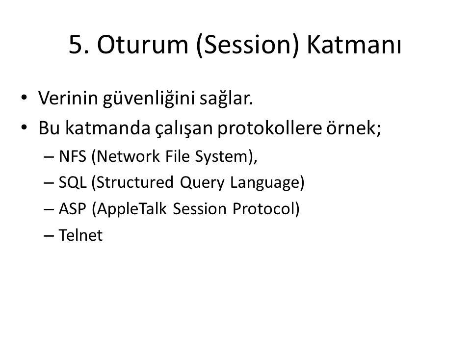 5. Oturum (Session) Katmanı Verinin güvenliğini sağlar. Bu katmanda çalışan protokollere örnek; – NFS (Network File System), – SQL (Structured Query L