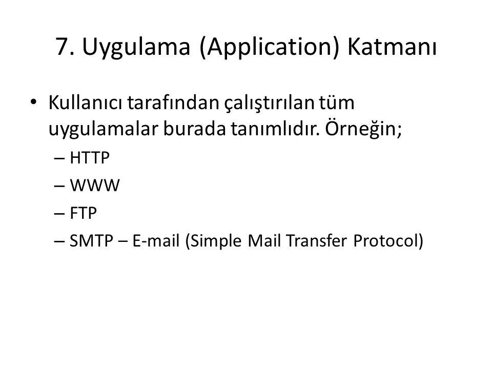 7. Uygulama (Application) Katmanı Kullanıcı tarafından çalıştırılan tüm uygulamalar burada tanımlıdır. Örneğin; – HTTP – WWW – FTP – SMTP – E-mail (Si