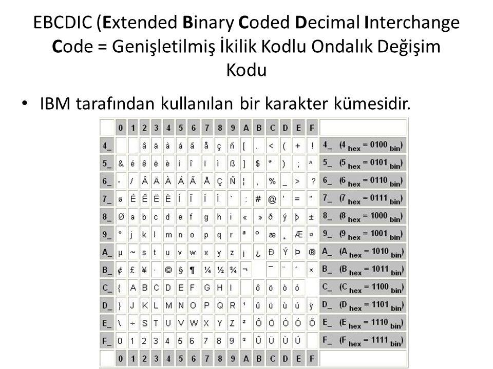 EBCDIC (Extended Binary Coded Decimal Interchange Code = Genişletilmiş İkilik Kodlu Ondalık Değişim Kodu IBM tarafından kullanılan bir karakter kümesi