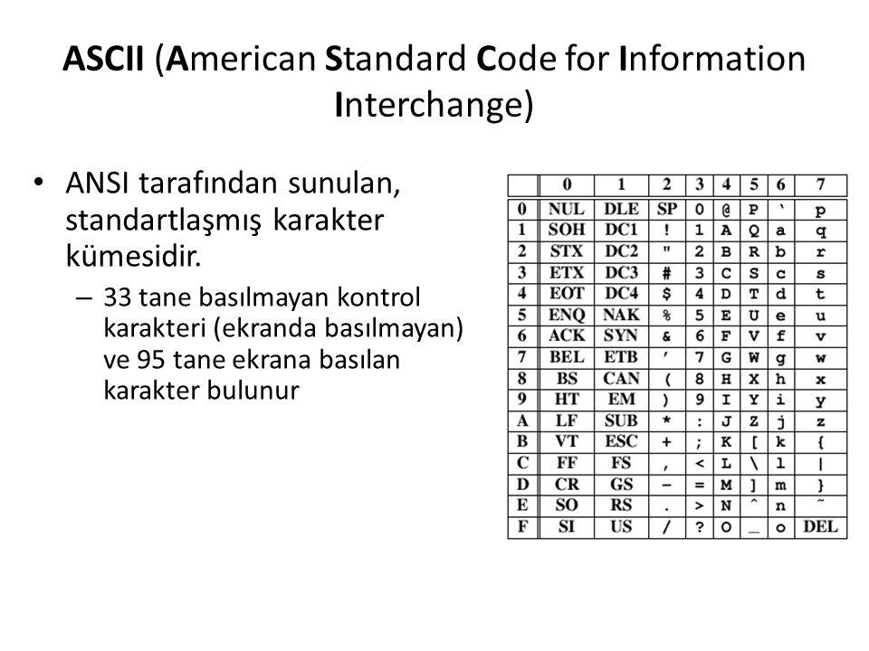ASCII (American Standard Code for Information Interchange) ANSI tarafından sunulan, standartlaşmış karakter kümesidir. – 33 tane basılmayan kontrol ka