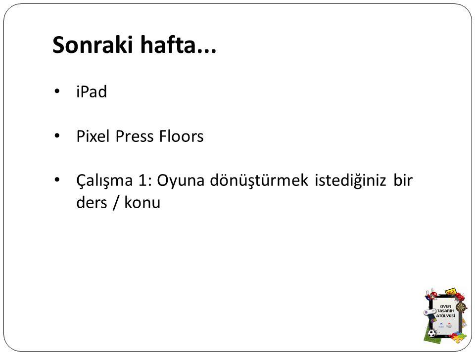 Sonraki hafta... iPad Pixel Press Floors Çalışma 1: Oyuna dönüştürmek istediğiniz bir ders / konu