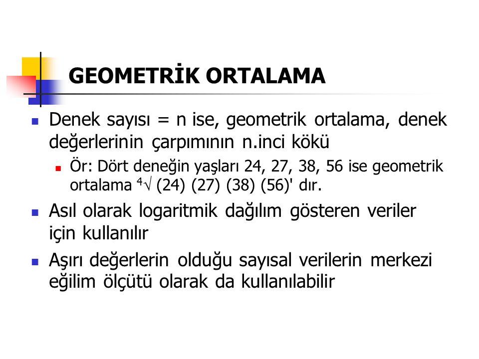 Denek sayısı = n ise, geometrik ortalama, denek değerlerinin çarpımının n.inci kökü Ör: Dört deneğin yaşları 24, 27, 38, 56 ise geometrik ortalama 4 