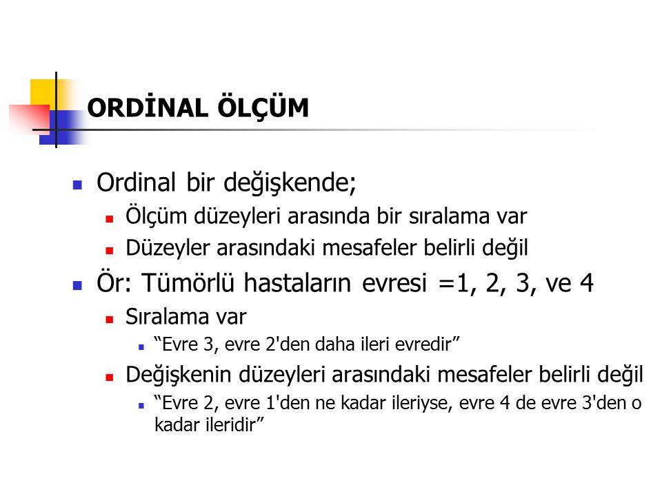 ORDİNAL ÖLÇÜM Ordinal değişken değerleri yalnızca; > ve < işlemleri için sayı gibi değerlendirilir; bunlar dışındaki matematik işlemler uygulanamaz.