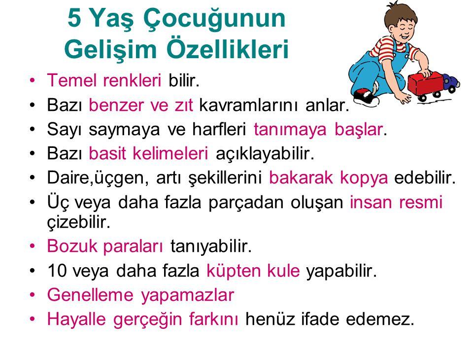 5 Yaş Çocuğunun Gelişim Özellikleri Temel renkleri bilir. Bazı benzer ve zıt kavramlarını anlar. Sayı saymaya ve harfleri tanımaya başlar. Bazı basit