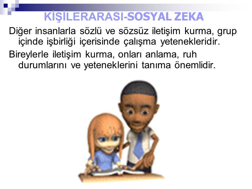KİŞİLERARASI- SOSYAL ZEKA Diğer insanlarla sözlü ve sözsüz iletişim kurma, grup içinde işbirliği içerisinde çalışma yetenekleridir. Bireylerle iletişi