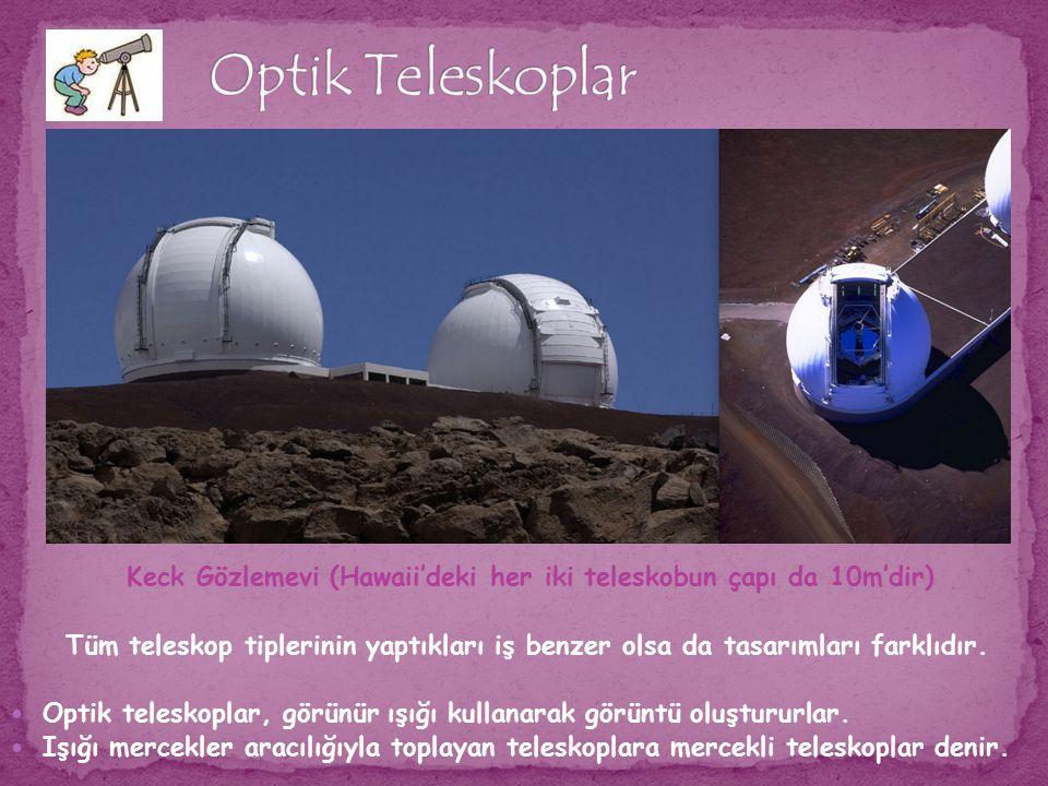 Keck Gözlemevi (Hawaii'deki her iki teleskobun çapı da 10m'dir) Tüm teleskop tiplerinin yaptıkları iş benzer olsa da tasarımları farklıdır. Optik tele