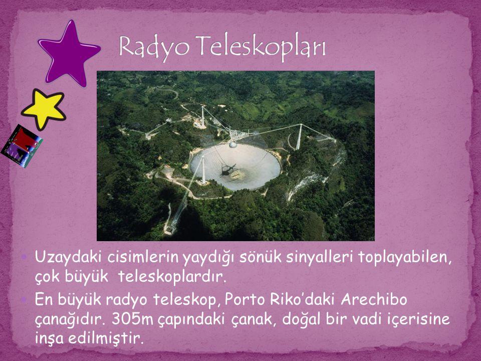 Uzaydaki cisimlerin yaydığı sönük sinyalleri toplayabilen, çok büyük teleskoplardır. En büyük radyo teleskop, Porto Riko'daki Arechibo çanağıdır. 305m