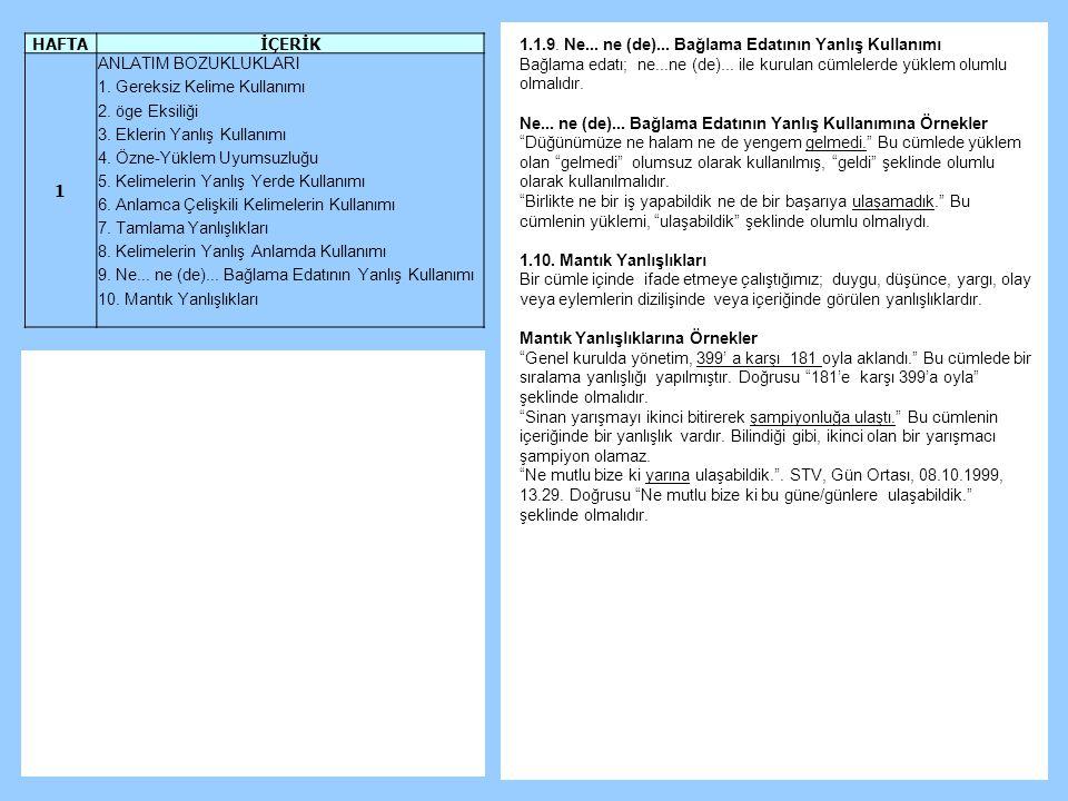 Türkçe ile varız, Türkçe kadar varız! HAFTA İÇERİK 1 ANLATIM BOZUKLUKLARI 1.