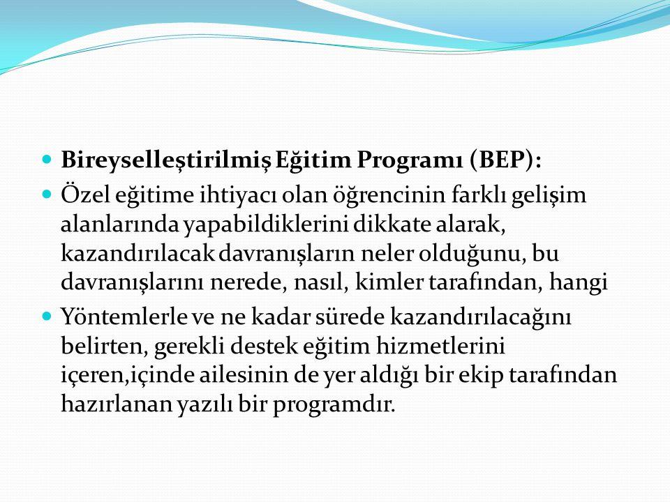 Bireyselleştirilmiş Eğitim Programı (BEP): Özel eğitime ihtiyacı olan öğrencinin farklı gelişim alanlarında yapabildiklerini dikkate alarak, kazandırı