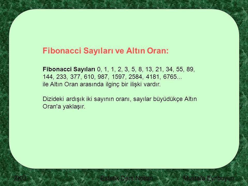 ZKÜ Estetik Ders Notları Mustafa Eyriboyun Fibonacci Sayıları ve Altın Oran: Fibonacci Sayıları 0, 1, 1, 2, 3, 5, 8, 13, 21, 34, 55, 89, 144, 233, 377, 610, 987, 1597, 2584, 4181, 6765...