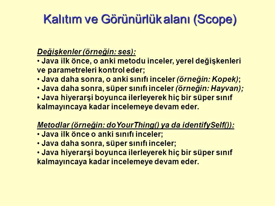 Kalıtım ve Görünürlükalanı (Scope) Kalıtım ve Görünürlük alanı (Scope) Değişkenler (örneğin: ses): Java ilk önce, o anki metodu inceler, yerel değişke