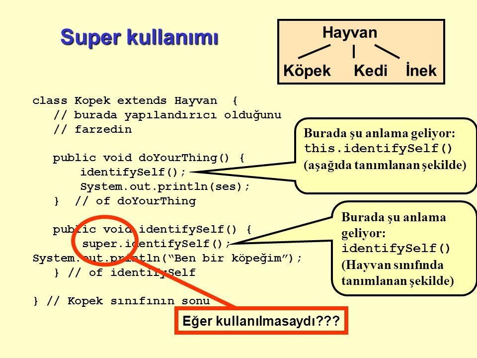 Super kullanımı class Kopek extends Hayvan { // burada yapılandırıcı olduğunu // farzedin public void doYourThing() { identifySelf(); System.out.print
