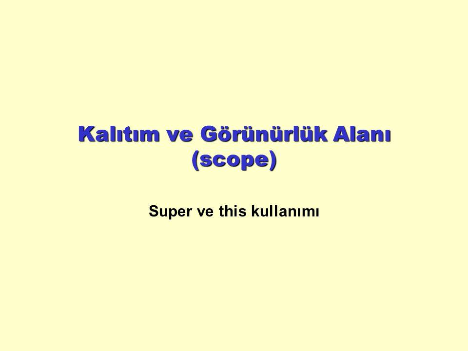 Kalıtım ve Görünürlük Alanı (scope) Super ve this kullanımı