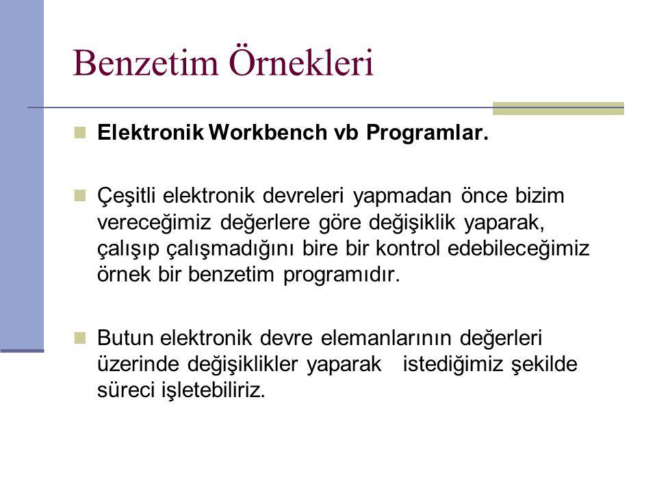 Benzetim Örnekleri Elektronik Workbench vb Programlar. Çeşitli elektronik devreleri yapmadan önce bizim vereceğimiz değerlere göre değişiklik yaparak,