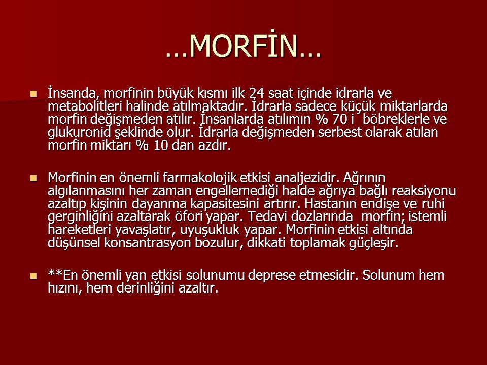 …MORFİN… İnsanda, morfinin büyük kısmı ilk 24 saat içinde idrarla ve metabolitleri halinde atılmaktadır. İdrarla sadece küçük miktarlarda morfin değiş