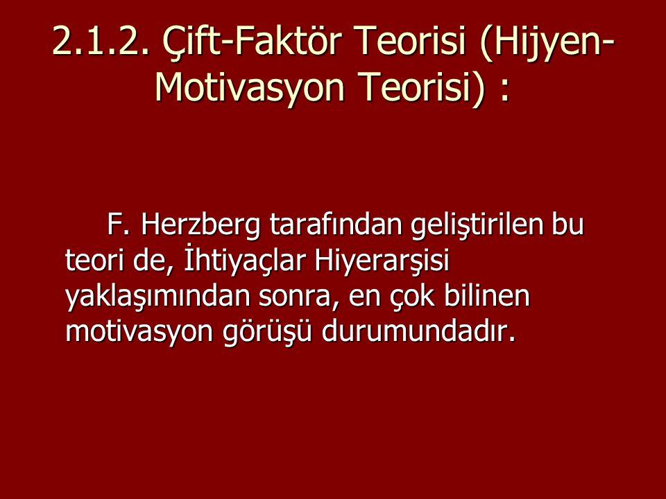 2.1.2. Çift-Faktör Teorisi (Hijyen- Motivasyon Teorisi) : F. Herzberg tarafından geliştirilen bu teori de, İhtiyaçlar Hiyerarşisi yaklaşımından sonra,