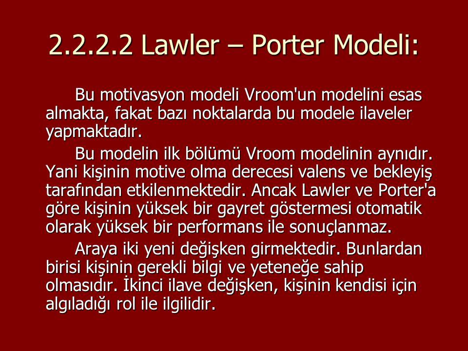 2.2.2.2 Lawler – Porter Modeli: Bu motivasyon modeli Vroom'un modelini esas almakta, fakat bazı noktalarda bu modele ilaveler yapmaktadır. Bu modelin