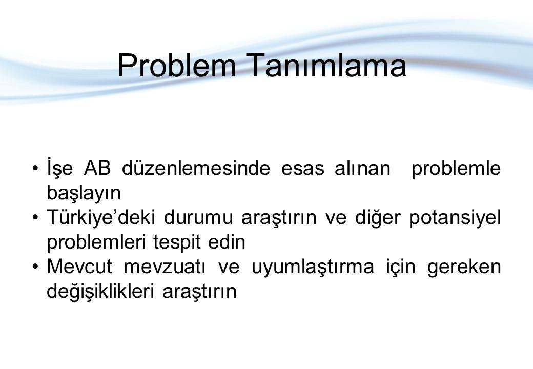 Problem Tanımlama İşe AB düzenlemesinde esas alınan problemle başlayın Türkiye'deki durumu araştırın ve diğer potansiyel problemleri tespit edin Mevcut mevzuatı ve uyumlaştırma için gereken değişiklikleri araştırın