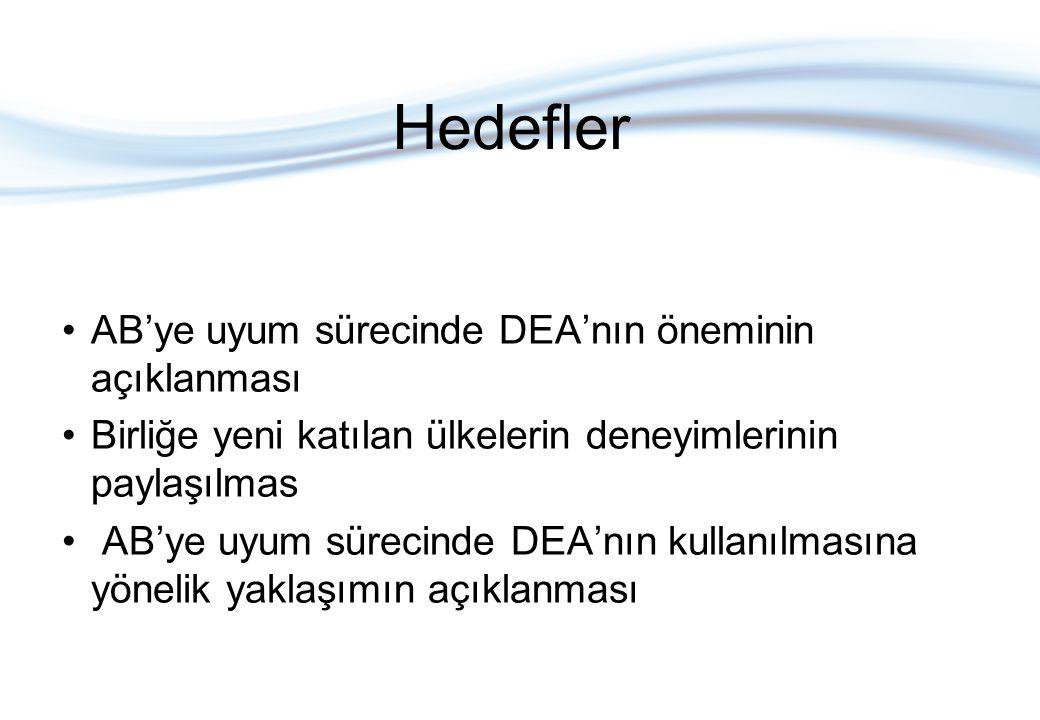 Hedefler AB'ye uyum sürecinde DEA'nın öneminin açıklanması Birliğe yeni katılan ülkelerin deneyimlerinin paylaşılmas AB'ye uyum sürecinde DEA'nın kullanılmasına yönelik yaklaşımın açıklanması