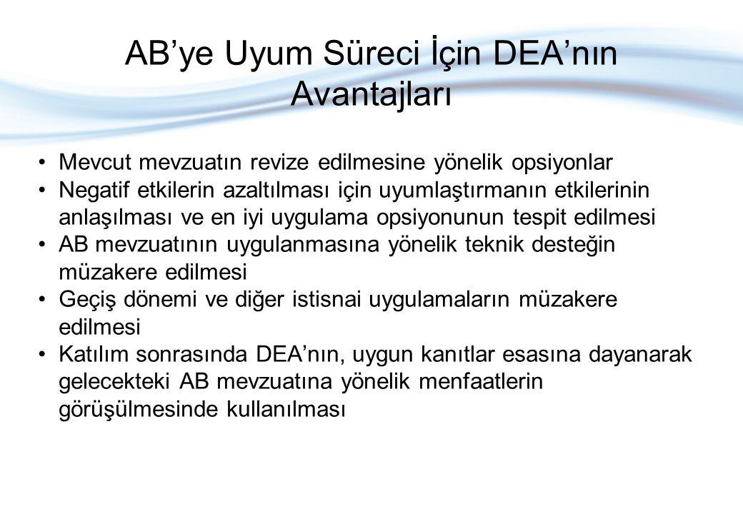 AB'ye Uyum Süreci İçin DEA'nın Avantajları Mevcut mevzuatın revize edilmesine yönelik opsiyonlar Negatif etkilerin azaltılması için uyumlaştırmanın etkilerinin anlaşılması ve en iyi uygulama opsiyonunun tespit edilmesi AB mevzuatının uygulanmasına yönelik teknik desteğin müzakere edilmesi Geçiş dönemi ve diğer istisnai uygulamaların müzakere edilmesi Katılım sonrasında DEA'nın, uygun kanıtlar esasına dayanarak gelecekteki AB mevzuatına yönelik menfaatlerin görüşülmesinde kullanılması