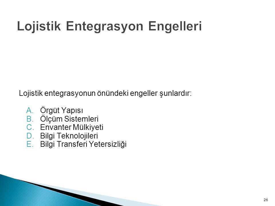 Lojistik entegrasyonun önündeki engeller şunlardır: A.Örgüt Yapısı B.Ölçüm Sistemleri C.Envanter Mülkiyeti D.Bilgi Teknolojileri E.Bilgi Transferi Yetersizliği 26