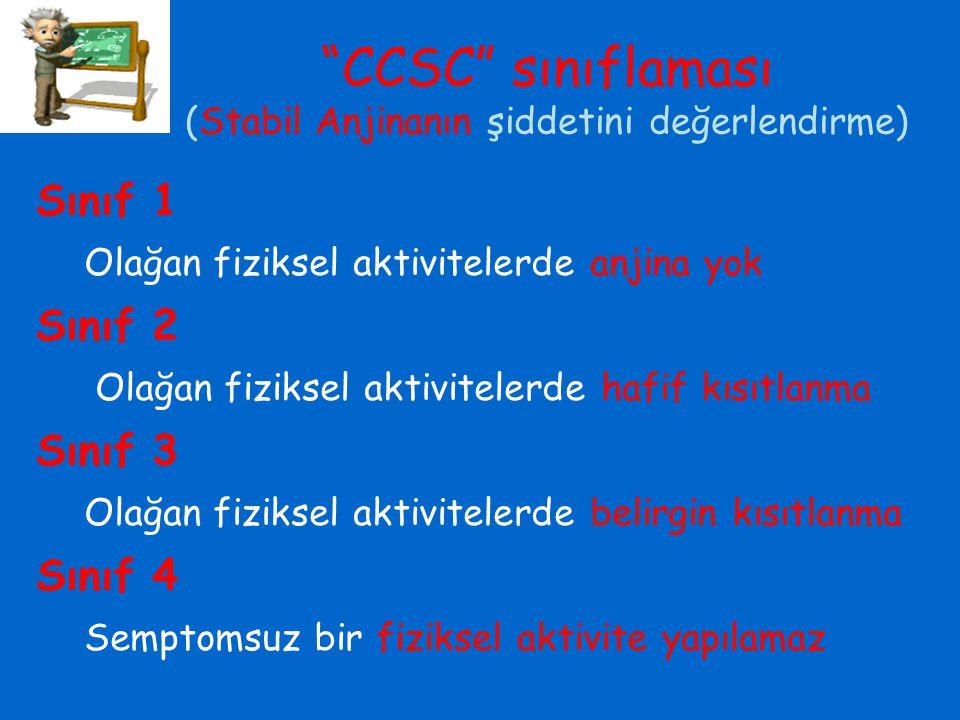 """""""CCSC"""" sınıflaması (Stabil Anjinanın şiddetini değerlendirme) Sınıf 1 Olağan fiziksel aktivitelerde anjina yok Sınıf 2 Olağan fiziksel aktivitelerde h"""