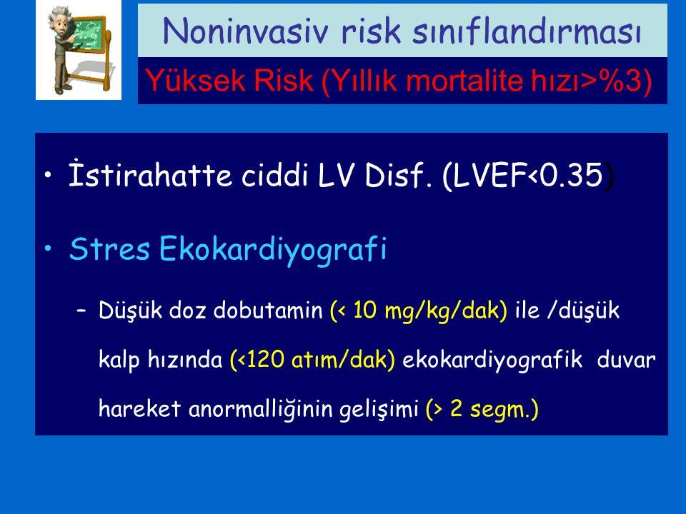 İstirahatte ciddi LV Disf. (LVEF<0.35) Stres Ekokardiyografi –Düşük doz dobutamin ( 2 segm.) Noninvasiv risk sınıflandırması Yüksek Risk (Yıllık morta