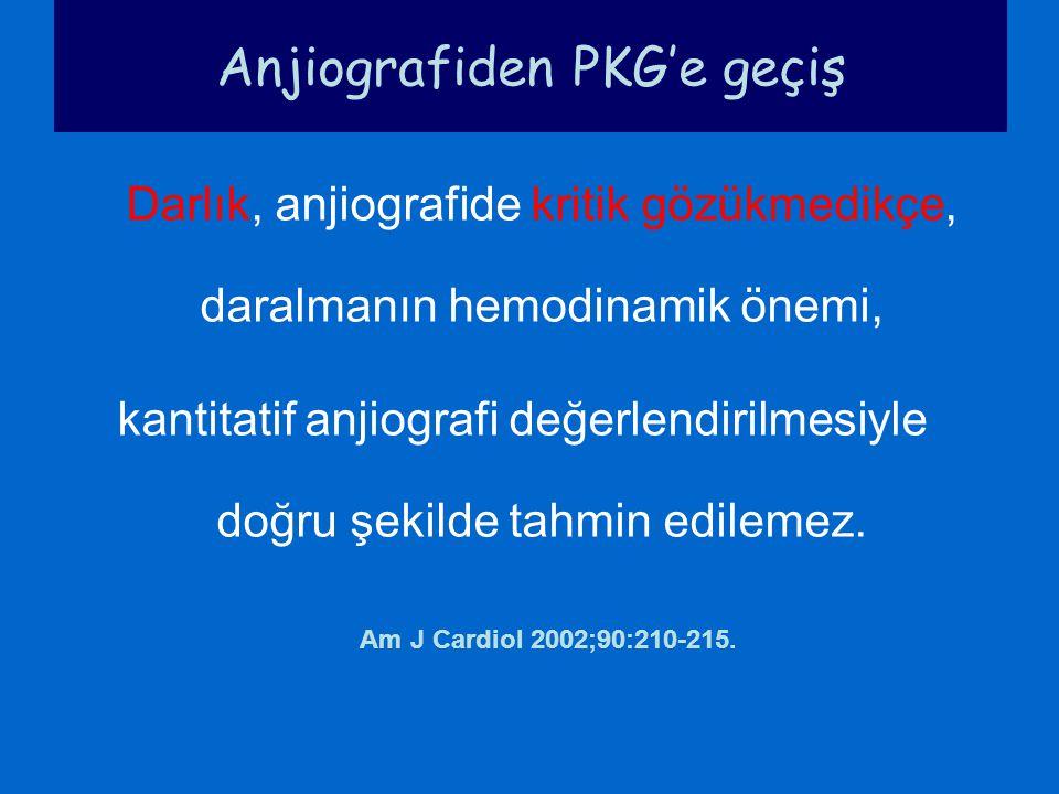 Darlık, anjiografide kritik gözükmedikçe, daralmanın hemodinamik önemi, kantitatif anjiografi değerlendirilmesiyle doğru şekilde tahmin edilemez. Am J