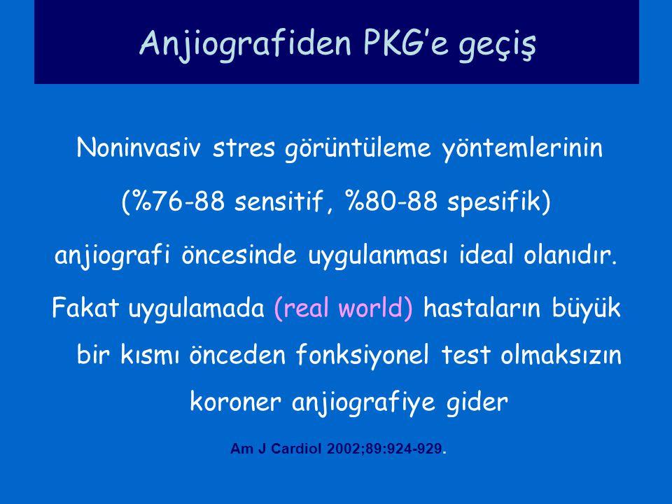 Anjiografiden PKG'e geçiş Noninvasiv stres görüntüleme yöntemlerinin (%76-88 sensitif, %80-88 spesifik) anjiografi öncesinde uygulanması ideal olanıdı