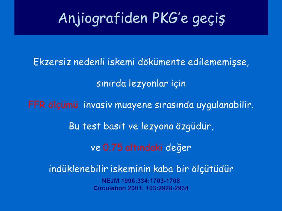 Anjiografiden PKG'e geçiş Ekzersiz nedenli iskemi dökümente edilememişse, sınırda lezyonlar için FFR ölçümü invasiv muayene sırasında uygulanabilir. B
