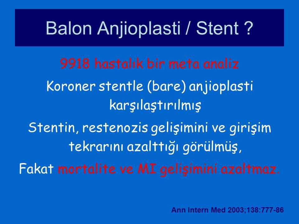 9918 hastalık bir meta analiz Koroner stentle (bare) anjioplasti karşılaştırılmış Stentin, restenozis gelişimini ve girişim tekrarını azalttığı görülm