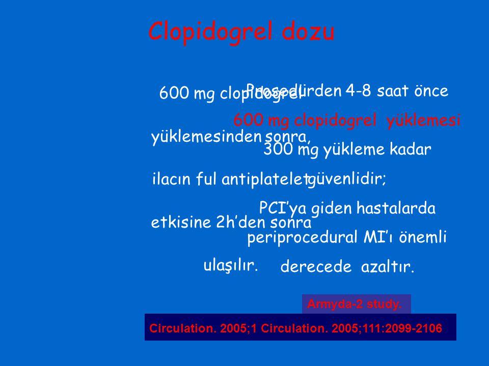 Clopidogrel dozu 600 mg clopidogrel yüklemesinden sonra, ilacın ful antiplatelet etkisine 2h'den sonra ulaşılır. Circulation. 2005;111:2560-2564 Prose
