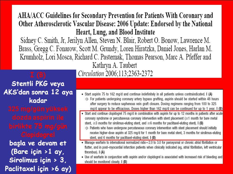 I (B) Stentli PKG veya AKS'dan sonra 12 aya kadar 325 mg/gün yüksek dozda aspirin ile birlikte 75 mg/gün Clopidogrel başla ve devam et (Bare için >1 a